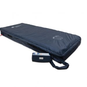"Meridian SatinAir Alternating Pressure Hospital Mattress System. A hospital sized (80""x36"" with alternating depth) air mattress with a navy cover. The alternating air control box is connected to the bed via a navy air tub."