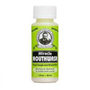 Uncle Harry's Miracle Mouthwash product image. A white bottle with a yellow, black and white label. Available in 8oz or 16oz sizes.