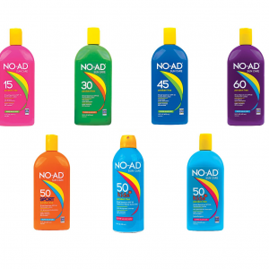 NO-AD product page featured image. 2 rows of NO-AD sunscreens. Top row: SPF15 lotion, SPF30 lotion, SPF45 lotion and SPF60 lotion, all 16oz size. Bottom row Sport SPF 50 16oz, Kids Spray SPF 50 10oz, Kids SPF 50 lotion 16oz.