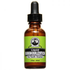 Uncle Harry's Remineralization Liquid For Tooth Enamel product image. A brown jar with a black eye dropper lid and a green, black and white label.