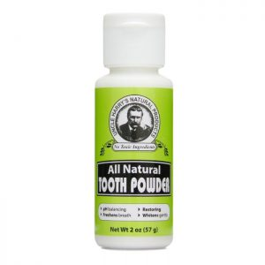 Uncle Harry's All Natural Tooth Powder product image. 2oz white bottle with a green, black and white label. Flip top.