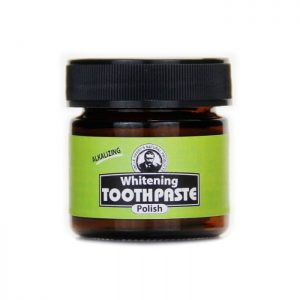 Uncle Harry's Whitening Toothpaste Polish product image. Black 1.25 oz jar with a green, black and white label.