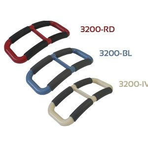 Stander Handy Handle product image. 3 Handy Handles in 3 colors. Top is red, middle is blue, bottom is ivory. All 3 Handy Handles are a rectangle shape with a slight curve and padding on the longer sides. Great to help pull people up from a chair.