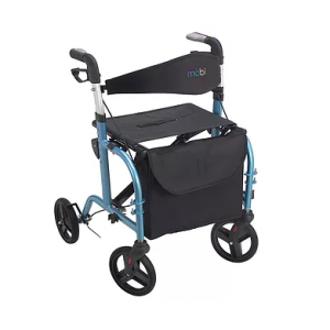 "Juvo Rollator Transport Chair product image. A blue Juvo Rollator-Transport chair set in walker mode. Metallic blue with black accessories and 8"" plastic wheels."