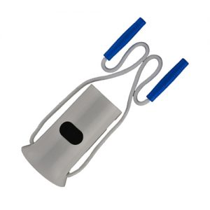 Nova Plastic Sock Aid product image. A white plastic half cylinder used to put on socks. Two ropes attach to blue handles used for pulling the sock on.
