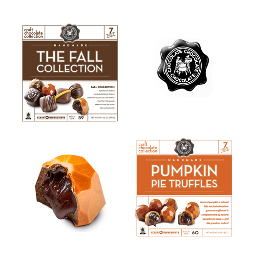 Chocolate Chocolate Chocolate Company's Fall collection. A picture of the fall collection box and the pumpkin pie truffles box. A pumpkin pie truffle is shown in the corner with a bite taken out of it revealing the truffle interior.