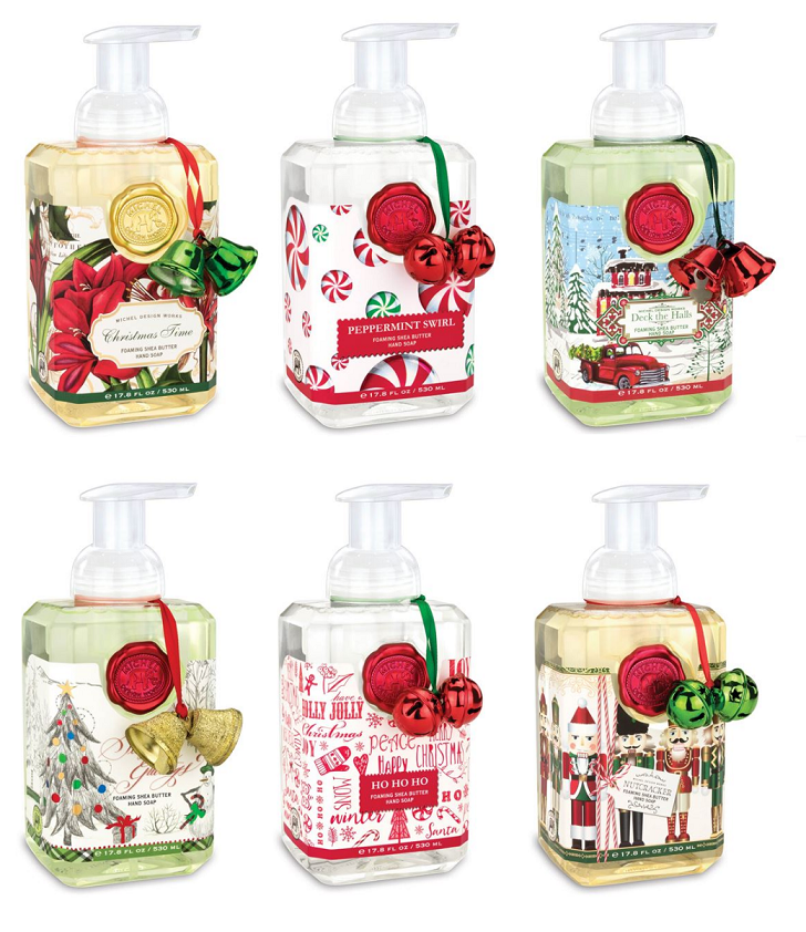 Michel Designs Christmas Soap Selection 2018. 6 bottles of the 2018 foaming soap scents from Michel Designs.