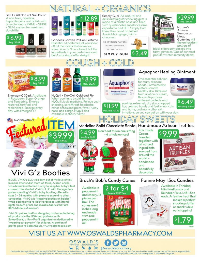 Oswald's Pharmacy Promotions flyer for December 2018. Sales on medical equipment, rentals, toys and more. Back page.