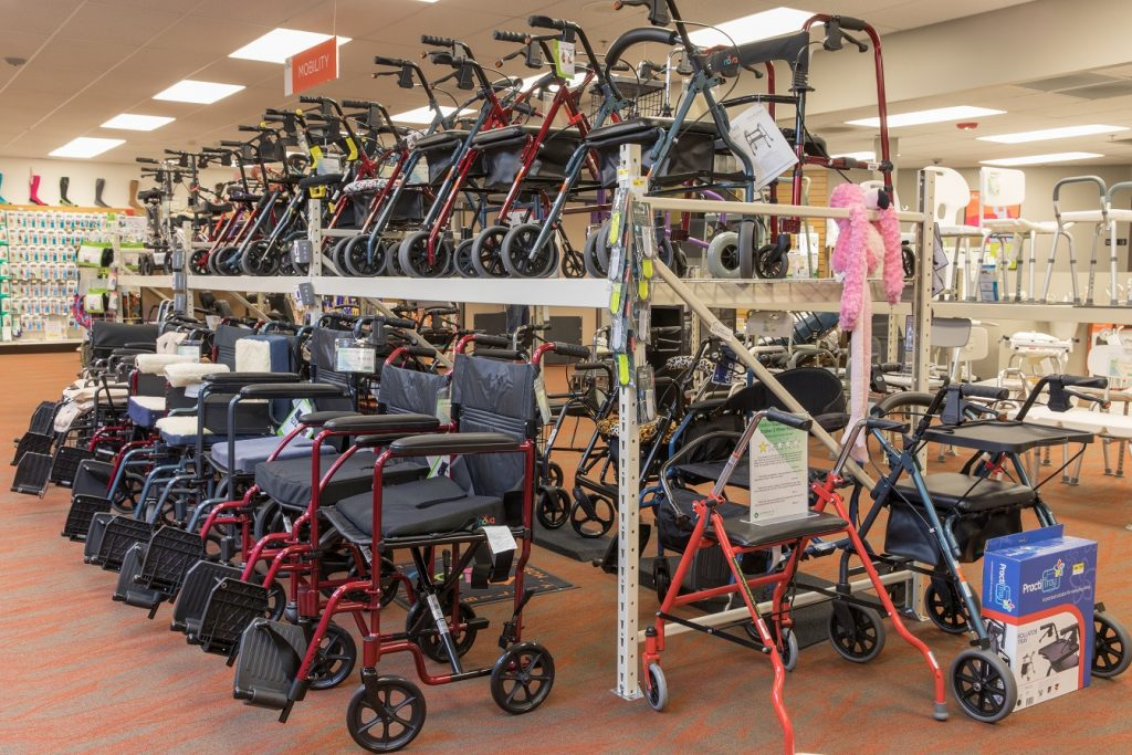 Oswald's two-tiered walker and wheelchair display on the Medical Equipment Showroom Floor.