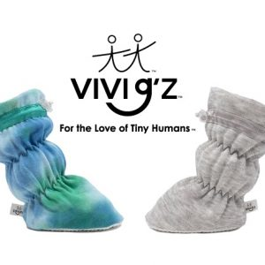 Vivi G'z Prodcut page image. A tie-dye infant bootie on the left, a heather grey baby bootie on the right. The Vivi G'z logo on top.