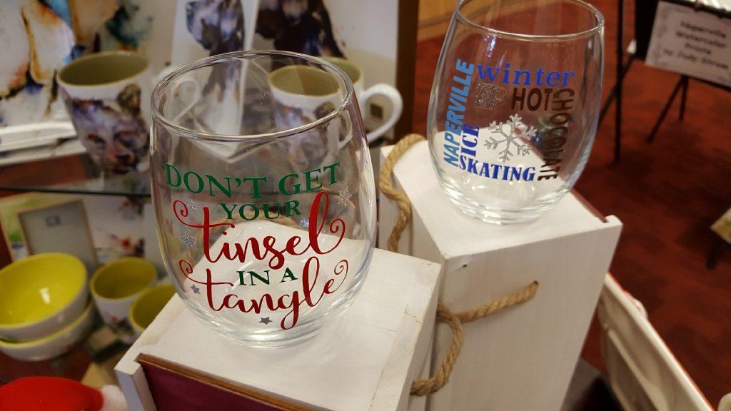 Mary Sue Lamb decorative holiday glasses. 2018 Edition.
