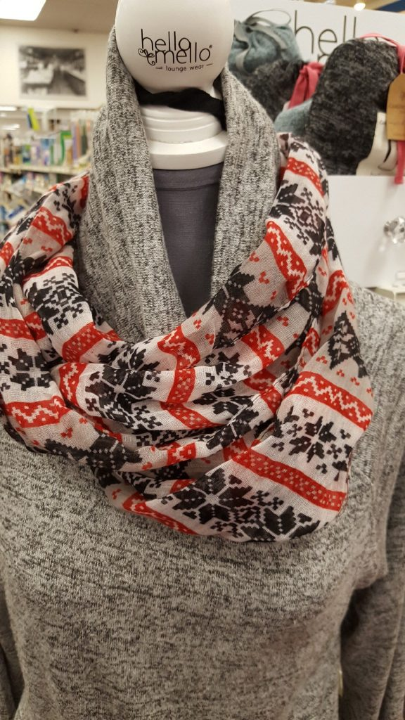 A Winter Fashion Infinity scarf on display for the 2018 Holiday season at Oswald's.