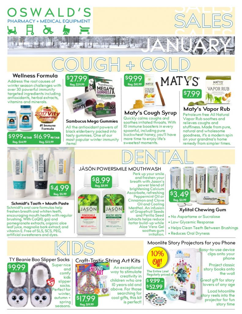 Oswald's Pharmacy Promotions flyer for January 2019. Sales on medical equipment, rentals, toys and more.