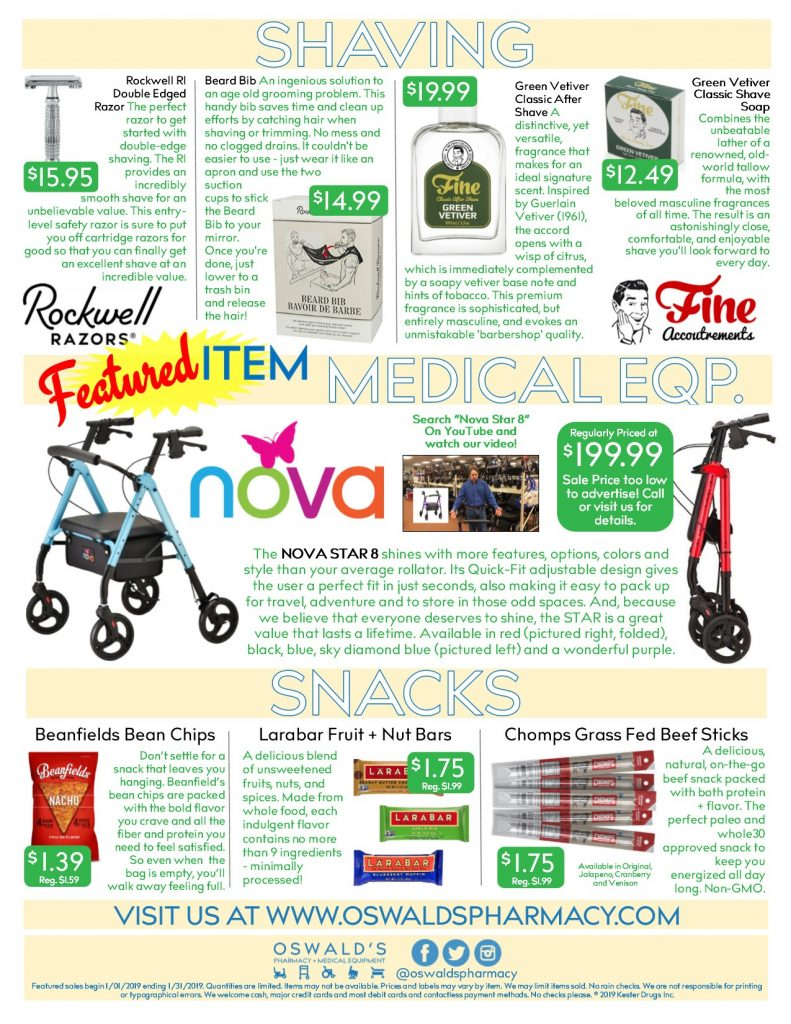 Oswald's Pharmacy Promotions flyer for January 2019. Sales on medical equipment, rentals, toys and more. Page 2