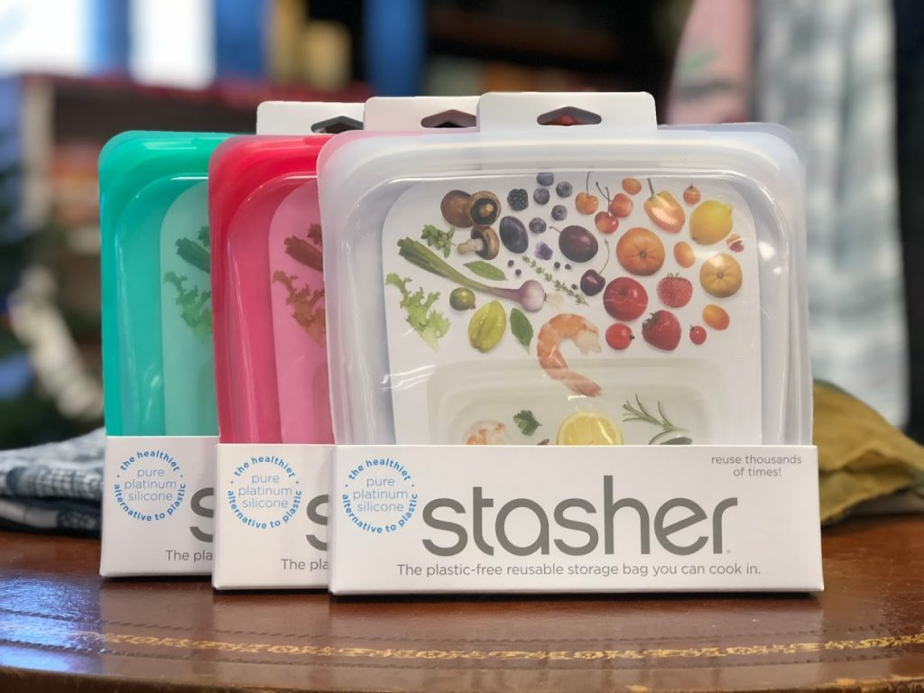 Stasher Bags on the Oswald's Pharmacy sales floor. Stasher bags come in many styles--one for just about every kitchen theme!