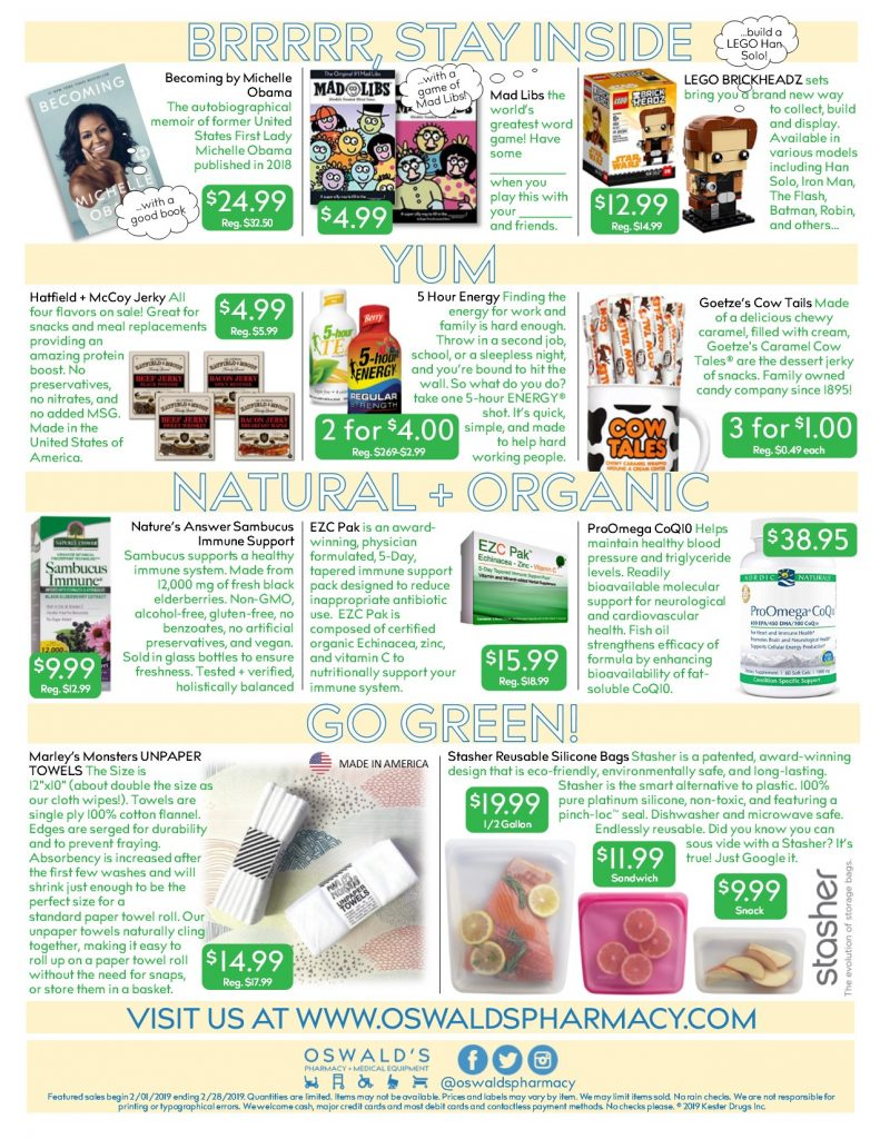 Oswald's Pharmacy Promotions flyer for February 2019. Sales on medical equipment, rentals, toys and more. Page 2