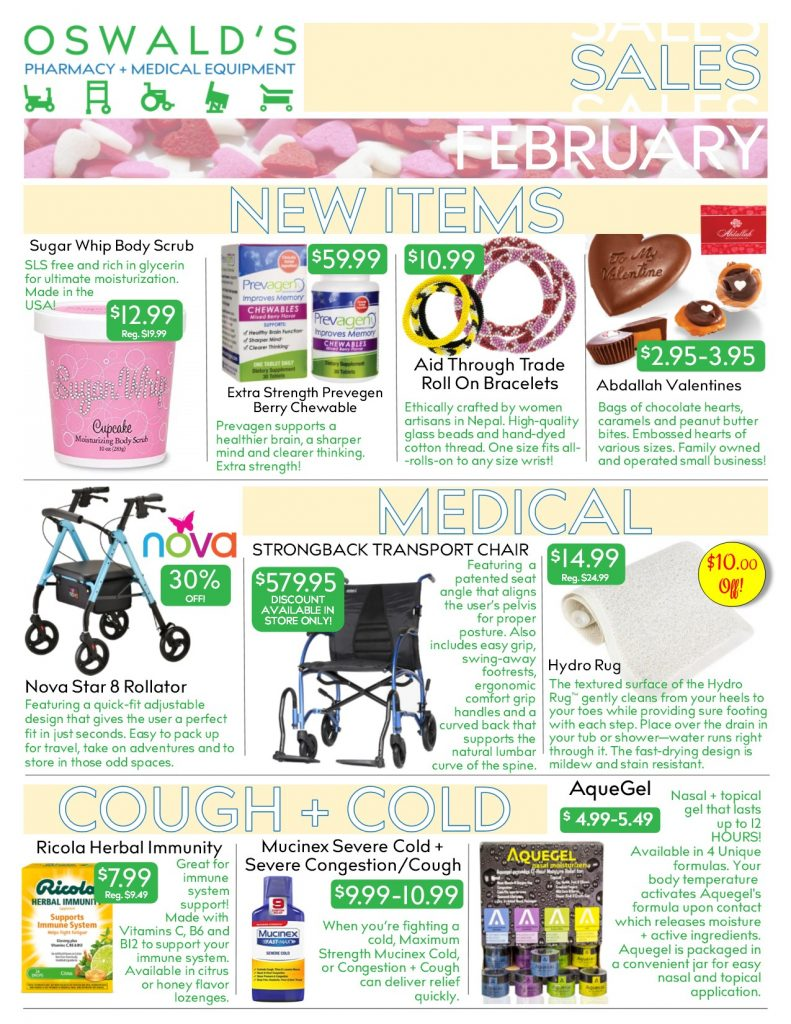 Oswald's Pharmacy Promotions flyer for February 2019. Sales on medical equipment, rentals, toys and more.