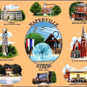 Naperville Heirloom Coverlet. An Oswald's exclusive--a woven blanket featuring 9 Naperville landmarks.