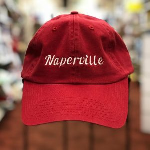 Naperville baseball cap, red with white lettering.