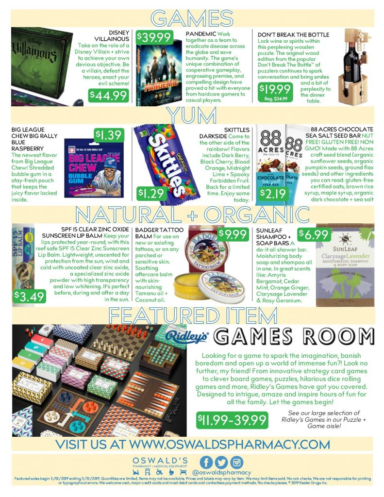 Oswald's Pharmacy Promotions flyer for March 2019. Sales on medical equipment, rentals, toys and more. Page 2