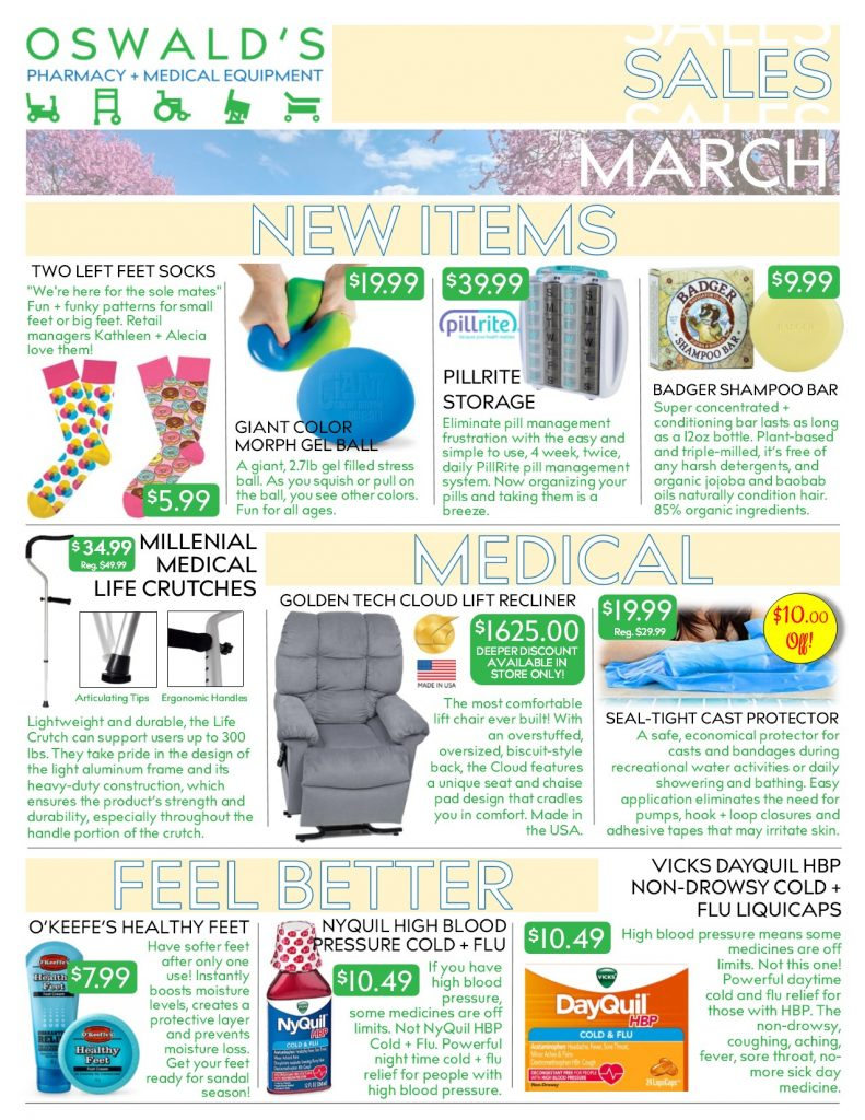 Oswald's Pharmacy Promotions flyer for March 2019. Sales on medical equipment, rentals, toys and more. Page 1