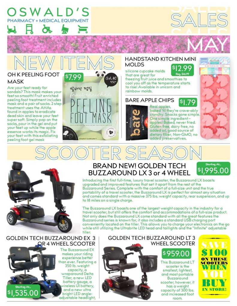 Oswald's Pharmacy Promotions flyer for May 2019. Sales on medical equipment, rentals, toys and more. Page 1