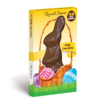The Russell Stover 1 lb. chocolate Easter bunny. In a yellow box with pastel egg highlights.