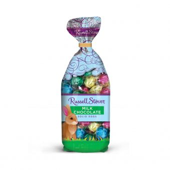 A 9oz bag of Russell Stover milk chocolate eggs. A pastel package with a clear front. Many foil-pastel eggs are inside the bag.