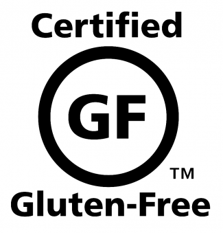 The Gluten-Free symbol. A capital g next to a capital f, centered in a circle. The word certified is on the top, with the words gluten-free on the bottom.