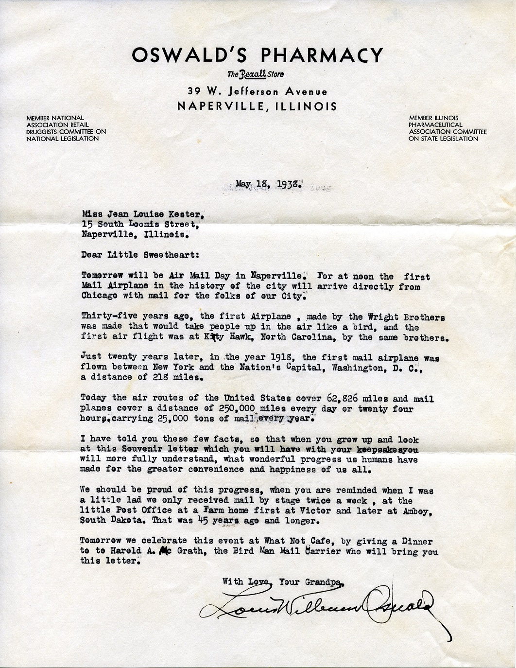 The letter from Louis Oswald to Jean Kester.