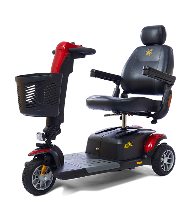 The Golden Buzzaround LX. Pictured: 3-wheel model with red shroud panels. Black captain's chair supports up to 375 lbs.