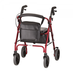 Nova Mobility Bag. The black Nova Mobility Bag shown with the Dual Attachment Velcro straps draped over the front of a red rollator.