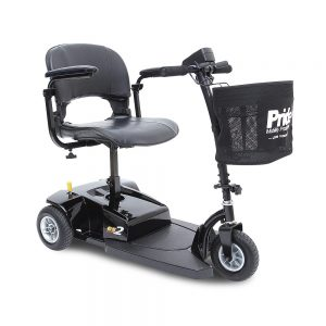 Pride Go-Go ES 2 3-Wheel Power Mobility Scooter. A picture of the ES 2 facing right. Black on black with a seat, battery pack, and a basket with a white Pride Mobility logo.