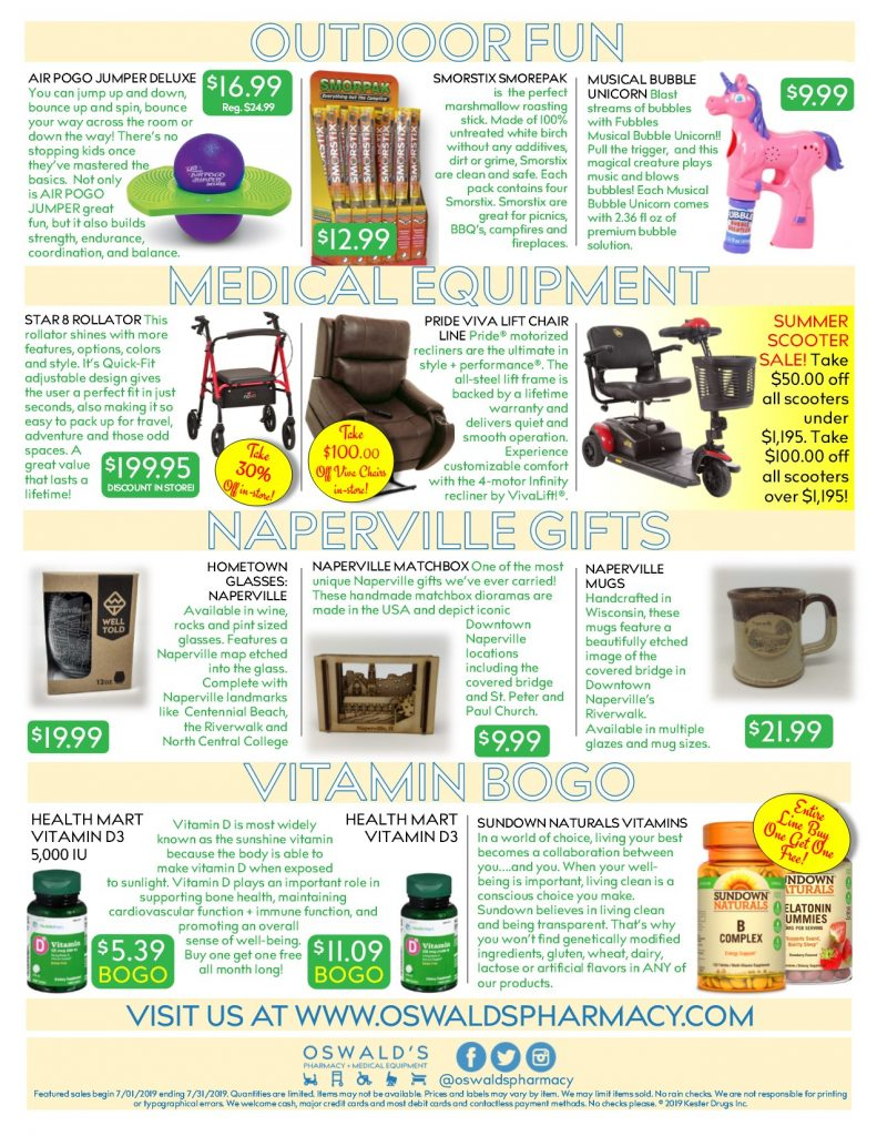 Oswald's Pharmacy Promotions flyer for July 2019. Sales on medical equipment, rentals, toys and more. Page 2