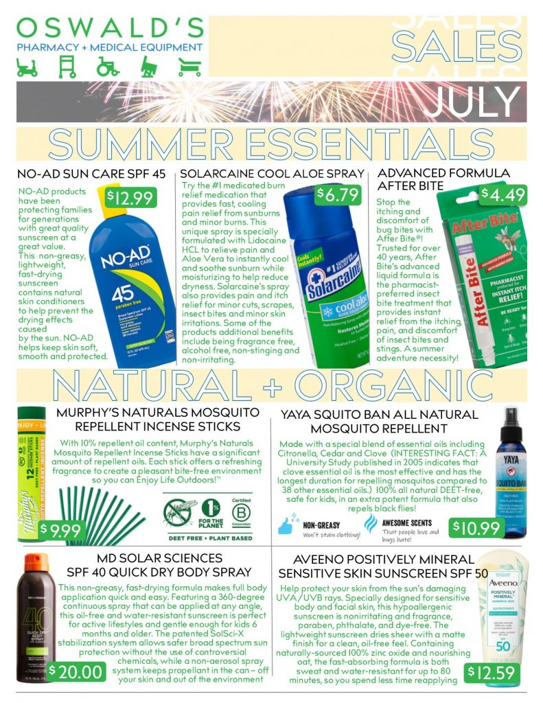 Oswald's Pharmacy Promotions flyer for July 2019. Sales on medical equipment, rentals, toys and more. Page 1