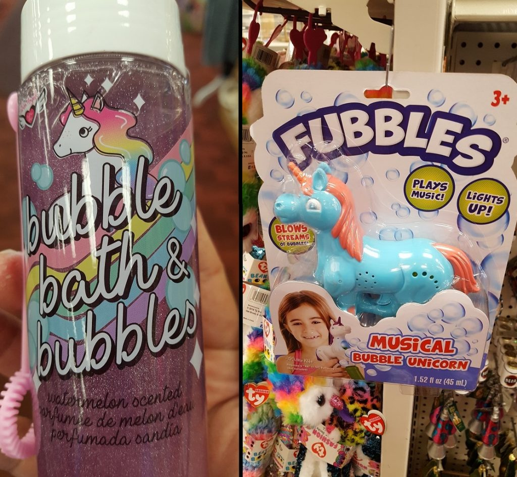 Summer 2019 Toys Blog Bubbles Image. 2 products. On the left is a bottle of pink Unicorn Bubble Bath Bubbles. The right image is the Fubbles Bubble Unicorn machine.