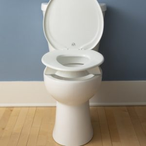 "The Bemis 3"" elevated toilet seat shown on a toilet. Two bumpers add an extra 3"" between the seat and the rim of the toilet."