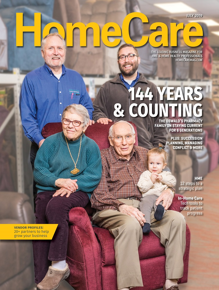 "Oswald's Pharmacy on the cover of HomeCare Magazine. ""144 Years & Counting."" The picture shows 4 generations of the Anderson family in the medical equipment showroom at Oswald's Pharmacy."