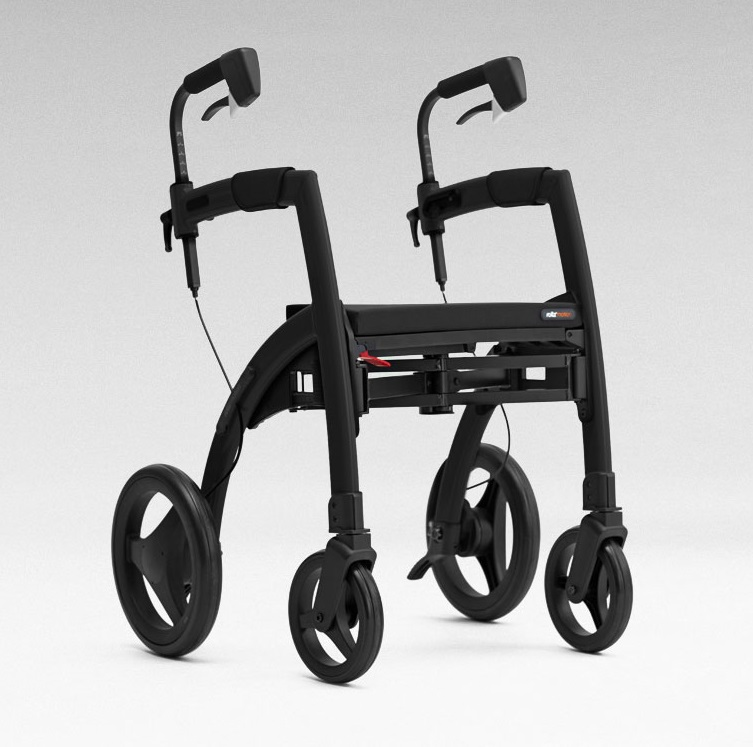 The Rollz Motion2 Rollator in Matte Black. The unit is in it's 'rollator' position, with no back support attached.