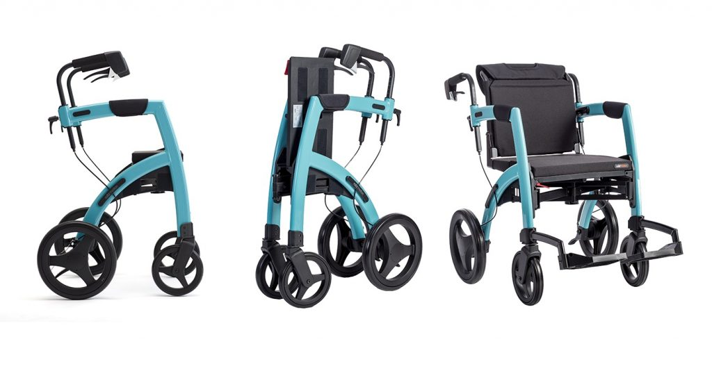 Rollz Motion Rollator shown in 3 positions. From left to right: Rollator Mode, Folded, Transport Wheelchair mode. Unit is shown in Island Blue color.