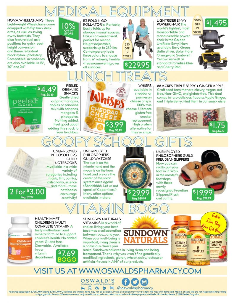 Oswald's Pharmacy Promotions flyer for August 2019. Sales on medical equipment, rentals, toys and more. Page 2
