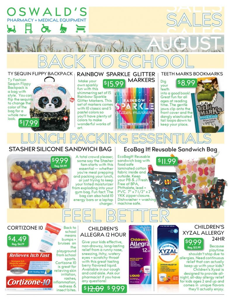 Oswald's Pharmacy Promotions flyer for August 2019. Sales on medical equipment, rentals, toys and more. Page 1