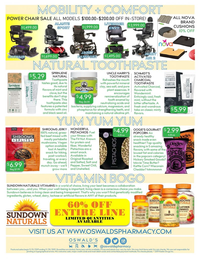 Oswald's Pharmacy Promotions flyer for September 2019. Sales on medical equipment, rentals, toys and more. Page 2