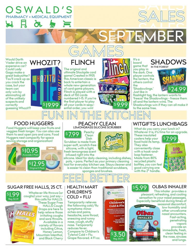 Oswald's Pharmacy Promotions flyer for September 2019. Sales on medical equipment, rentals, toys and more. Page 1