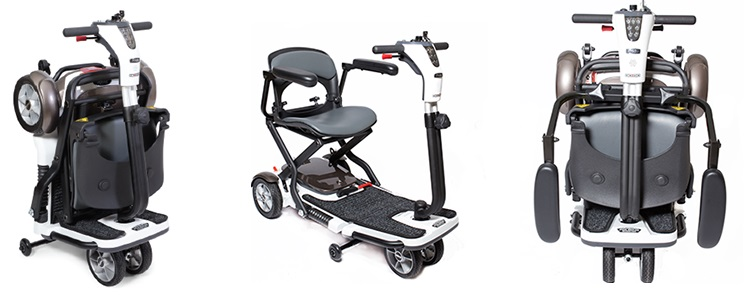 The Pride Go-Go Scooter shown in 3 different positions. From left to right: Folded for transport, unfolded with optional armrests, folded with armrests.