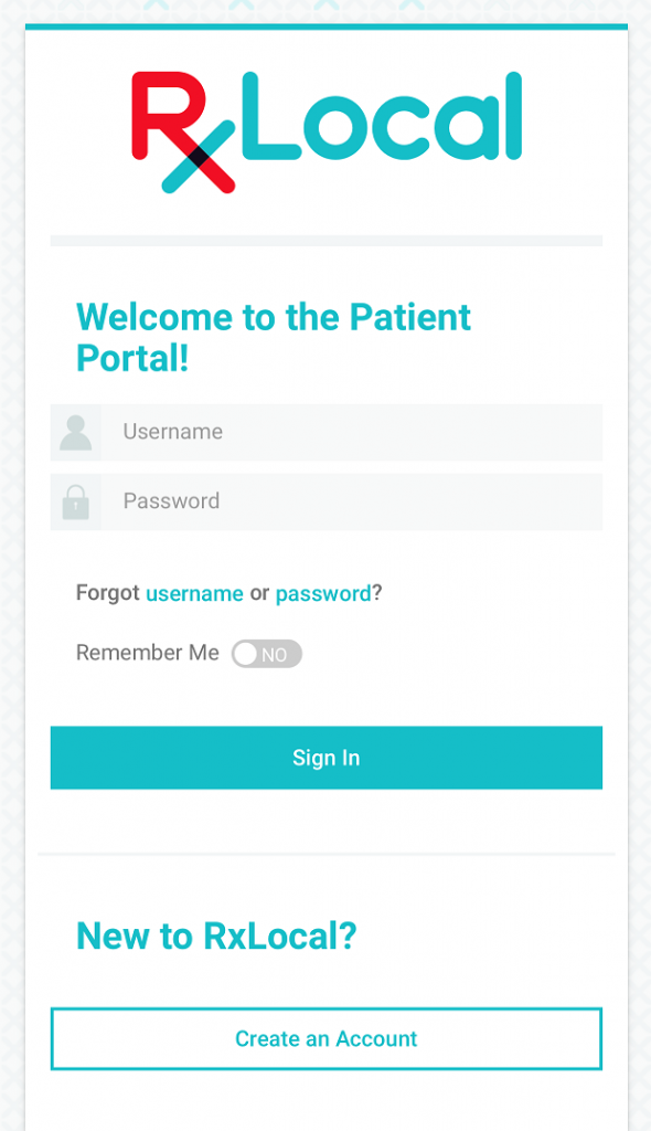 RXLocal prescription refill app for Oswald's Pharmacy Screenshot Login Screen. How-to Page 1