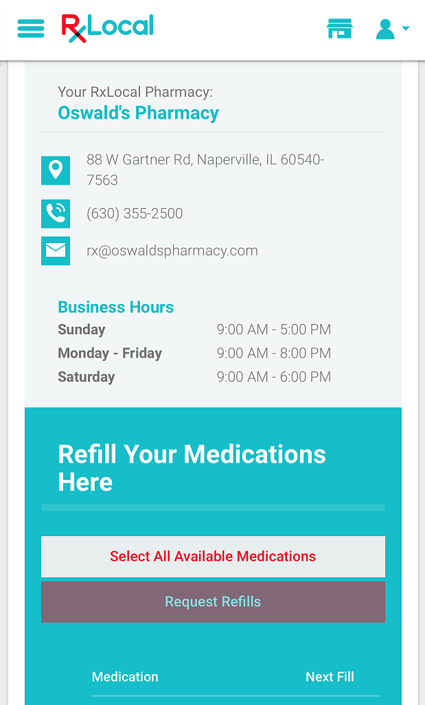 RXLocal prescription refill app for Oswald's Pharmacy Screenshot Screen 10. How-to Page 10