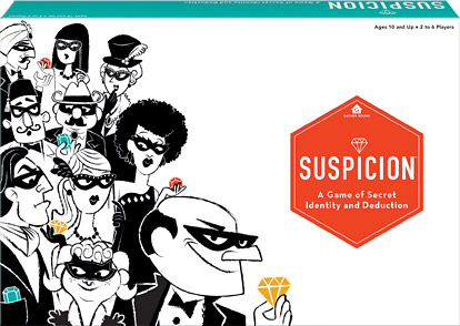 Suspicion Board Game. And Image of the Suspicion box, white box featuring ink bandits and thieves.