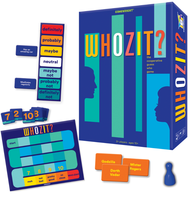 Whozit? Board Game. Game box is shown next to the board, cards and pieces.