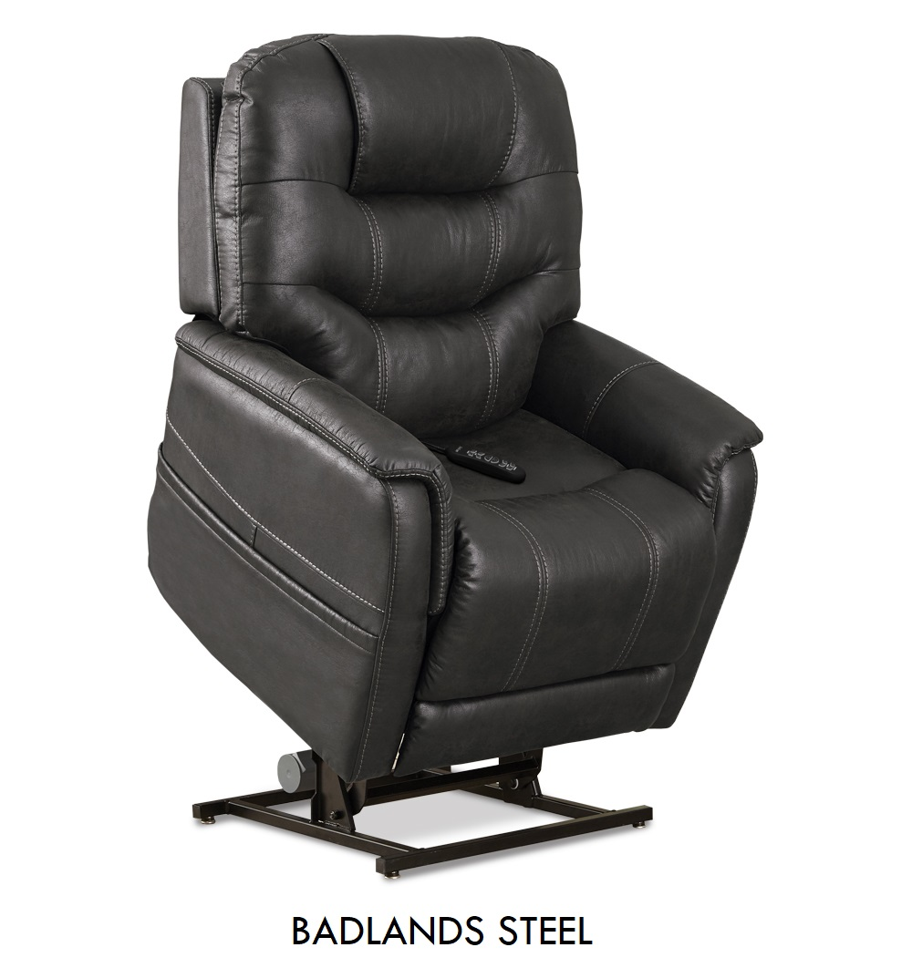 The Pride VivaLift! Tranquil in Badlands Steel fabric, a smooth black fabric.